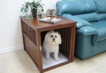 Best dog crate furniture. Decorative dog crates. Dog kennel end table
