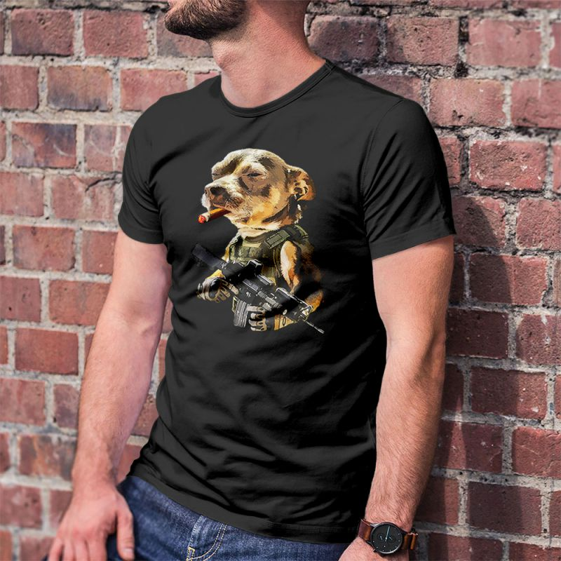 Army Pitbull Cigar Badass Men's T-Shirt