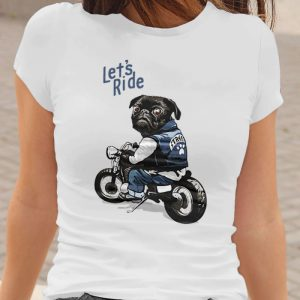Black Pug on Motorcycle - Let's Ride Women's T-Shirt