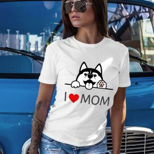 Cute Husky Dog I Love Mom Women's T-Shirt