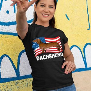 Dachshund Dog USA Flag Women's T-Shirt