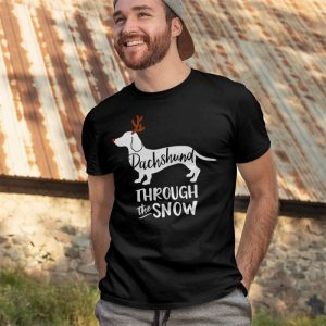 Dachshund Through The Snow - Weiner Dog Christmas Dog Men's T-Shirt