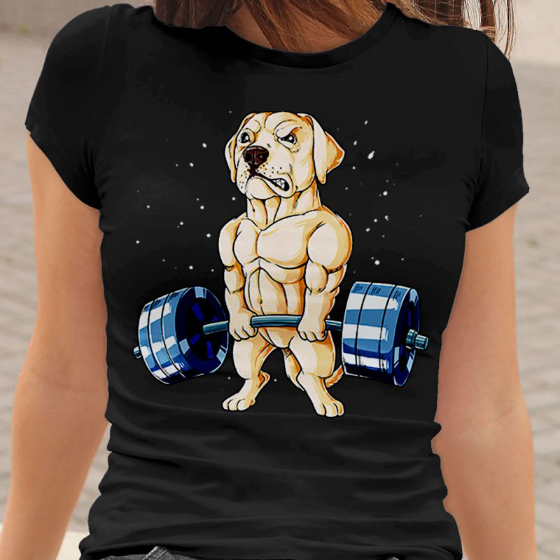 Funny Yellow Labrador in Gym Fitness Women's T-Shirt