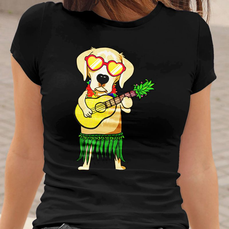 Labrador Hawaiian Costume Ukulele Summer Women's T-Shirt