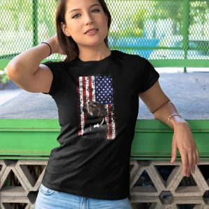 Patriotic Usa Flag Chocolate Labrador Women's T-Shirt