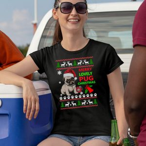 Pug Christmas Sweater - Merry Lovely Pug Christmas Women's T-Shirt