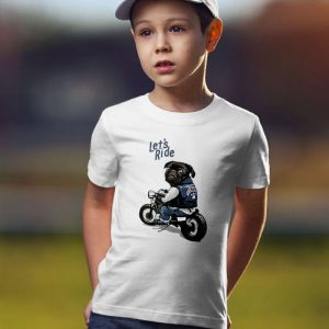 Black Pug on Motorcycle - Let's Ride Unisex Youth Kids T-Shirt