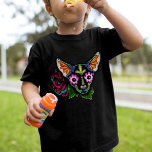Chihuahua Sugar Skull Unisex Youth Kids T-Shirt