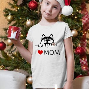 Cute Husky Dog I Love Mom Unisex Youth Kids T-Shirt
