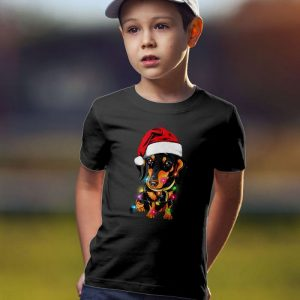 Dachshund Christmas Lights Unisex Youth Kids T-Shirt