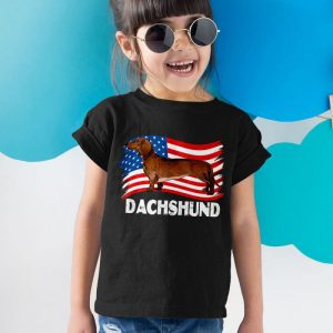 Dachshund Dog USA Flag Unisex Youth Kids T-Shirt