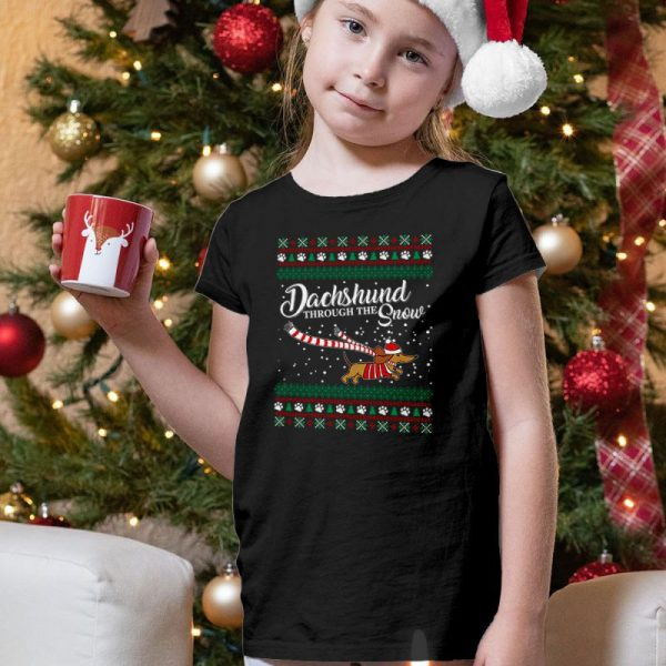 Dachshund Through The Snow - Dachshund Ugly Christmas Unisex Youth Kids T-Shirt