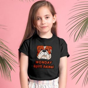 Funny Bulldog Monday Spirit Animal Unisex Youth Kids T-Shirt