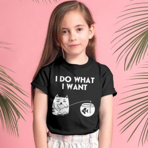 I Do What I Want Cat 3 Unisex Youth Kids T-Shirt