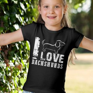 I Love Dachshunds Unisex Youth Kids T-Shirt