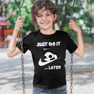 Just Do It Later Panda Unisex Youth Kids T-Shirt