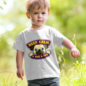 Keep Calm and Hug a Pug Unisex Youth Kids T-Shirt