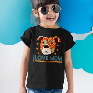 Pitbull Dog I Love Mom Unisex Youth Kids T-Shirt