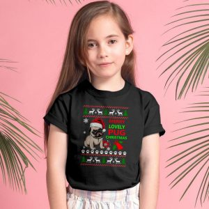 Pug Christmas Sweater - Merry Lovely Pug Christmas Unisex Youth Kids T-Shirt