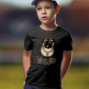 Pug Life - Funny Pug Dog & Thug Life Mashup Unisex Youth Kids T-Shirt