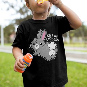 Soft Ass - Cute Rabbit Kiss My Ass Unisex Youth Kids T-Shirt