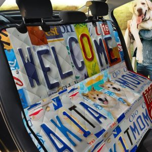 Akita Welcome Design Car Back Seat Cover Dog Car Seat Covers