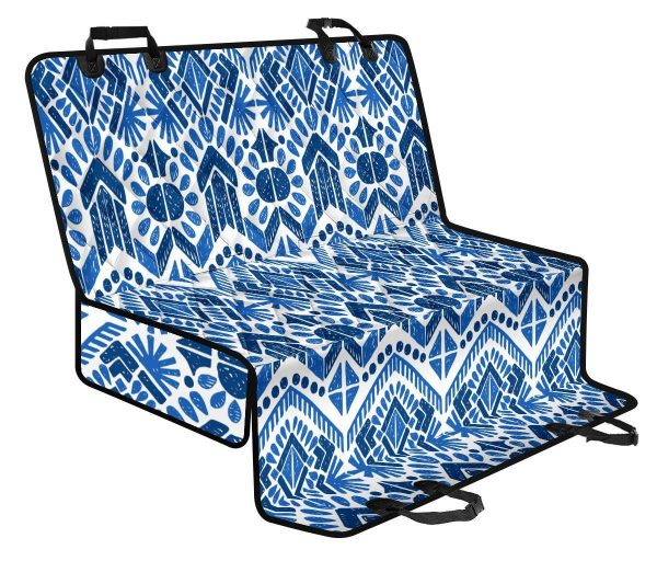 Blue And White Aztec Pattern Print Pet Car Back Seat Cover