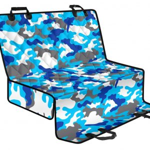 Blue Snow Camouflage Print Pet Car Back Seat Cover