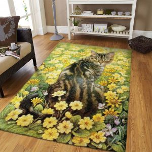 Cat In Yellow Flower Field Gs-1305vb Rug Sport Decor Gift Floor Decor Living Room Carpet Rug Area RugBig Sale Rug Area New 241180