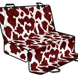 Chocolate Brown And White Cow Print Pet Car Back Seat Cover