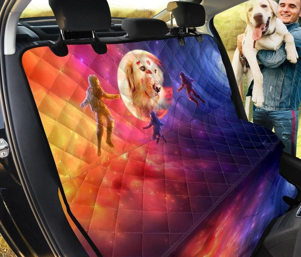 Colorful Universe Golden Retriever In Space Car Back Seat Cover Dog Car Seat Covers