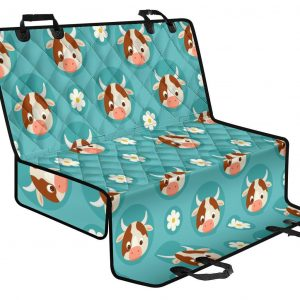 Cute Cow And Daisy Flower Pattern Print Pet Car Back Seat Cover