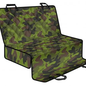 Dark Green And Black Camouflage Print Pet Car Back Seat Cover
