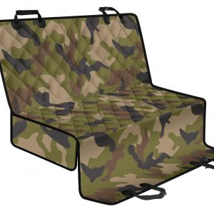Desert Green Camouflage Print Pet Car Back Seat Cover