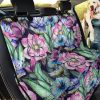 Elegant Lotus And Blue Flowers Design Car Back Seat Cover Dog Car Seat Covers