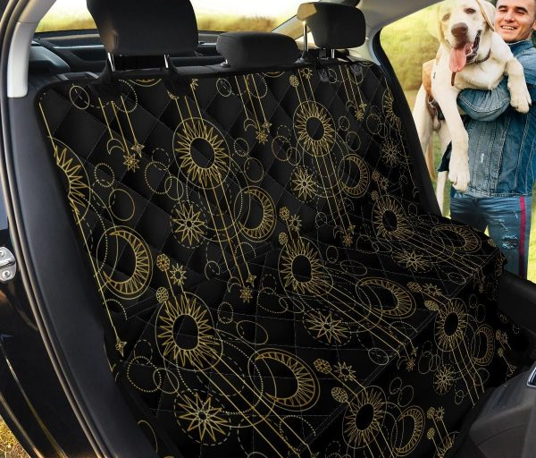 Gold And Black Moon Boho Style Car Back Seat Cover Dog Car Seat Covers