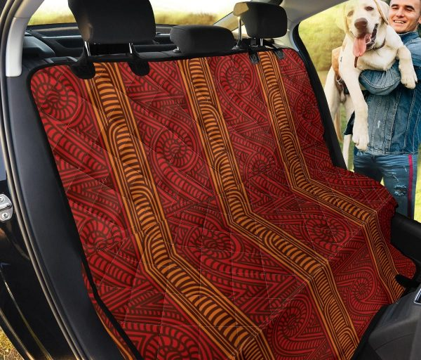 Gold And Fire Brick Color Maori Motif Car Back Seat Cover Dog Car Seat Covers