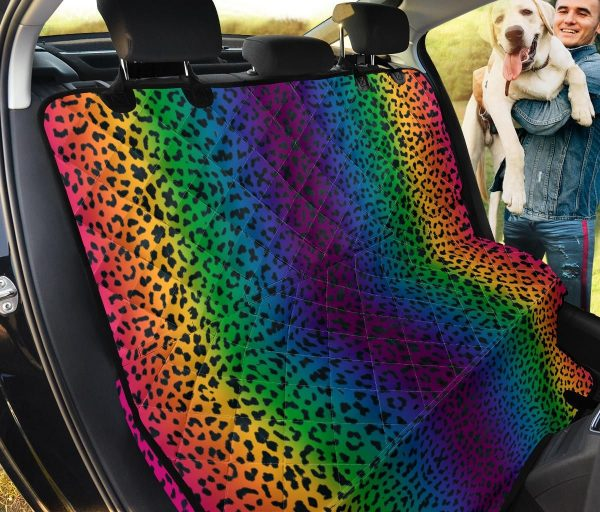 Hot Rainbow Leopard Car Back Seat Cover Dog Car Seat Covers