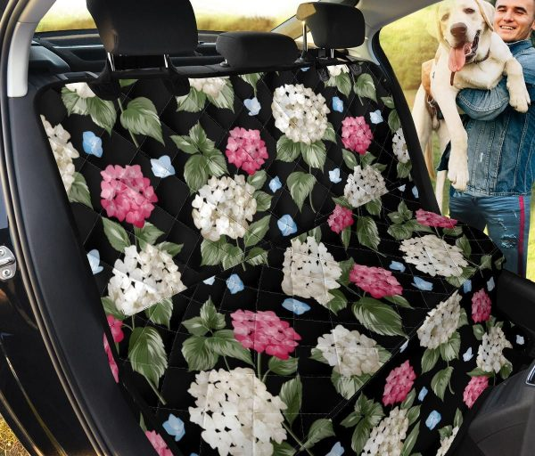 Hydrangea And Blue Butterflies On Black Design Car Back Seat Cover Dog Car Seat Covers