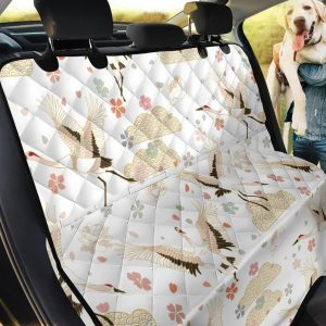 Japanese Cranes Pattern Car Back Seat Cover Dog Car Seat Covers