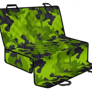 Lime Green Camouflage Print Pet Car Back Seat Cover