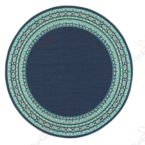 Madelina Border Navy And Green Gs-cl-dt2306 Round Carpet Floor Rug Sport Decor Gift Floor Decor Living Room Carpet Rug Area RugNew Style Round Rug 287842