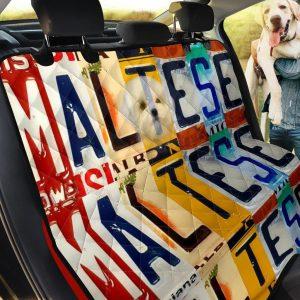 Maltese Dog License Plate Car Back Seat Cover Dog Car Seat Covers