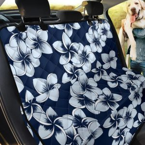 Midnight Blue Color And White Plumeria Car Back Seat Cover Dog Car Seat Covers