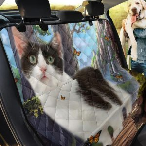 Natural Beauty And Munchkin Cat Design Car Back Seat Cover Dog Car Seat Covers