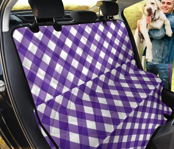 Purple And White Gingham Car Back Seat Cover Dog Car Seat Covers