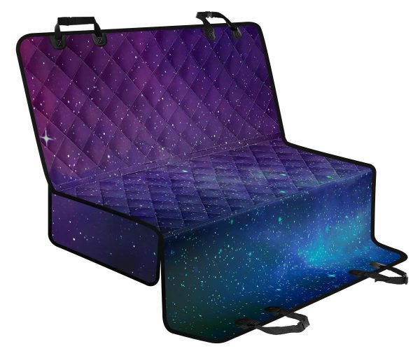 Purple Turquoise Galaxy Space Print Pet Car Back Seat Cover