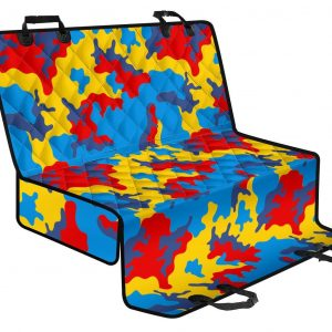 Red Yellow And Blue Camouflage Print Pet Car Back Seat Cover