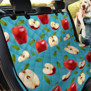 Ripe Red Apples On Blue Design Car Back Seat Cover Dog Car Seat Covers