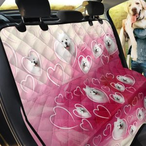 Samoyed On Pink Romantic Design Car Back Seat Cover Dog Car Seat Covers